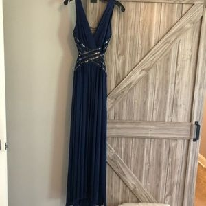 BCBG long navy backless gown